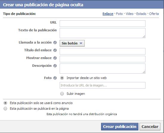 Captura crear publicación